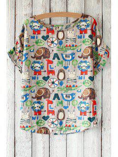 Cartoon Animal Print Round Neck Short Sleeve T-Shirt - Khaki