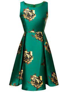 Large Floral Print A-Line Dress - Green L