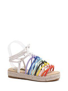 Rainbow Color Weaving Lace-Up Sandals - 39