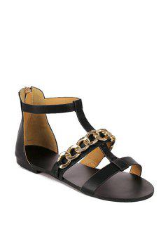 Chain T-Strap Flat Heel Sandals - Black 39