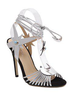 Peep Toe Lace-Up Stiletto Heel Sandals - Silver 40