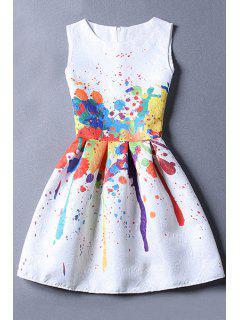 Sleeveless Jacquard White Dress - White Xl
