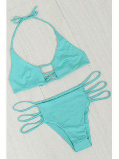 Hollow Solid Color Halterneck Bikini - Azure L