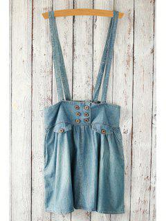 Retro Bleach Wash High Waist A-Line Denim Skirt - Light Blue