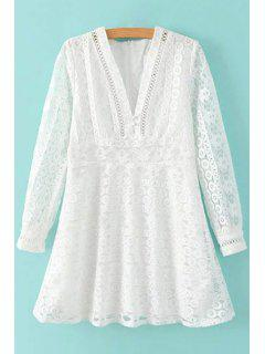 Deep V Neck White Lace Dress - White L