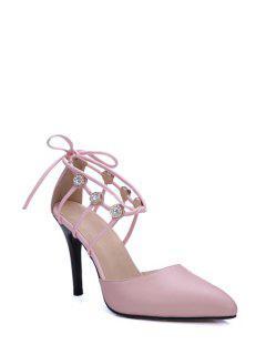 Rhinestone Pointed Toe Stiletto Heel Sandals - Pink 39