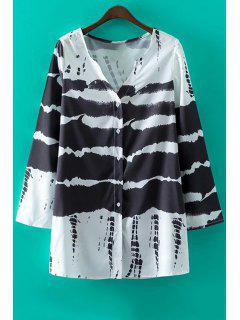 Black V-Neck Long Sleeve Print Dress - White And Black L