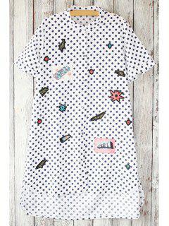 Printed Polka Dot Stand Neck Short Sleeve Shirt - White
