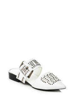 Rivet Buckle Pointed Toe Sandals - White 39
