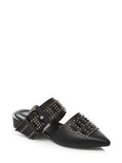 Rivet Buckle Pointed Toe Sandals - Black 39