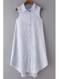 Stripe Turn Down Collar Sleeveless Dress - Stripe L