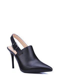 Slingback Pointed Toe Stiletto Heel Pumps - Black 39
