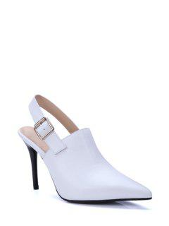 Slingback Pointed Toe Stiletto Heel Pumps - White 37