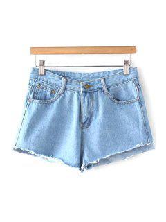 Luminaria De Azul Medio De La Cintura Pantalones Cortos De Mezclilla - Azul Claro Xl