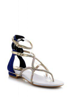 Rhinestones Ankle Strap Flat Heel Sandals - Blue 39