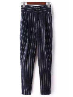 Striped High-Waisted Chino Pants - Deep Blue M