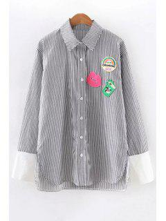 Button Down Appliqued Striped Shirt - Black L