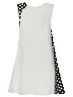 Collier Polka Dot Splicing Ronde Robe Sans Manches - Blanc Xl