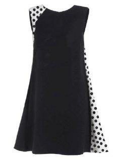 Collar Del Lunar De Empalme Redondo Vestido Sin Mangas - Negro Xl
