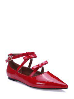 Solid Color Bowknots Pointed Toe Flat Shoes - Red 39
