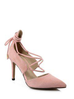 Solid Color Lace-Up Stiletto Heel Pumps - Pink 39
