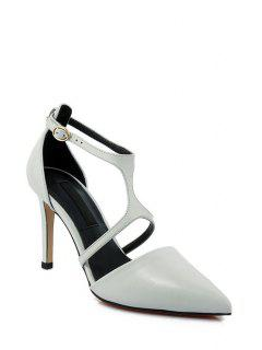 Pointed Toe Solid Colour Stiletto Heel Pumps - Light Gray 39