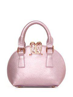Solid Color Sequined Bunny Ear Tote Bag - Pink
