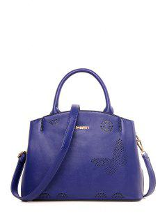 Letter Hollow Out Solid Color Tote Bag - Blue