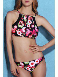 High Neck Zip Front Floral Bikini Set - L