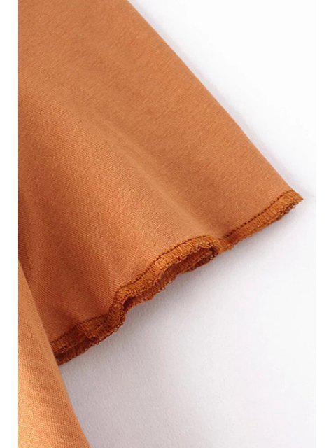 Solide Couleur Scoop cou à manches courtes T-shirt de l'épaule froide - Curcumae S Mobile