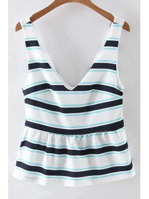 outfits Fitting Striped Plunging Neck Tank Top - WHITE S Mobile