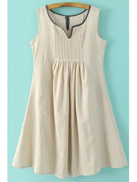 Taschen ärmel Eingekerbte Ansatz Kleid - Aprikose L Mobile