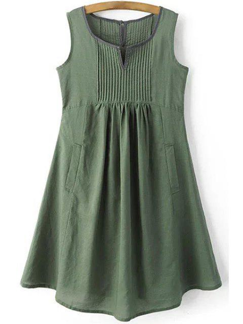 womens Pockets Sleeveless Notched Neck Dress - GREEN M Mobile