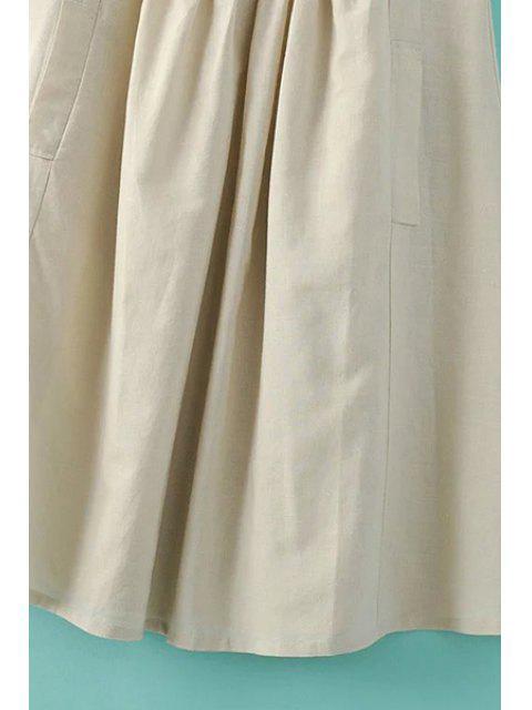 buy Pockets Sleeveless Notched Neck Dress - GREEN S Mobile
