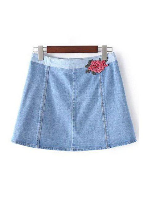 outfit Denim Pockets Floral Embroidery Skirt - LIGHT BLUE XS Mobile