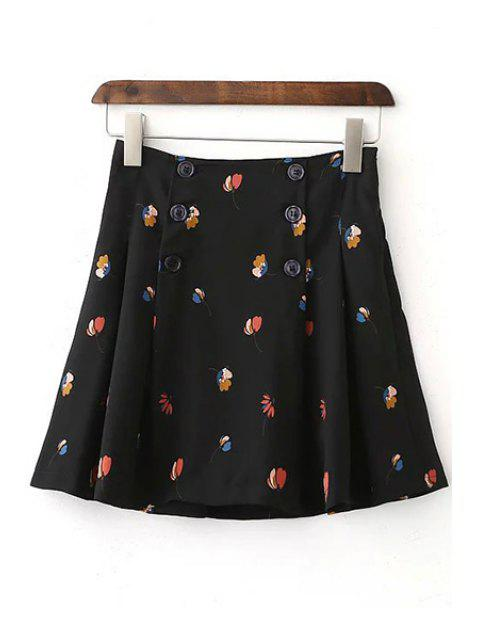 best Floral High Waist Double-Breasted Skirt - BLACK L Mobile