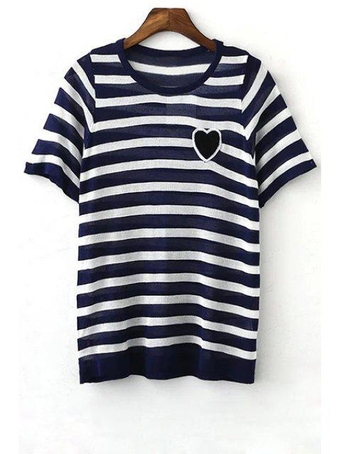 outfits Striped Round Neck Short Sleeve Knit T-Shirt - BLUE L Mobile