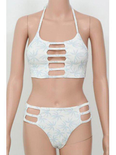 trendy Leaf Print Halter Hollow Bikini - GRAY M Mobile