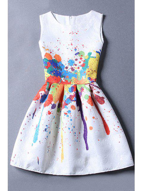fashion Sleeveless Jacquard White Dress - WHITE M Mobile