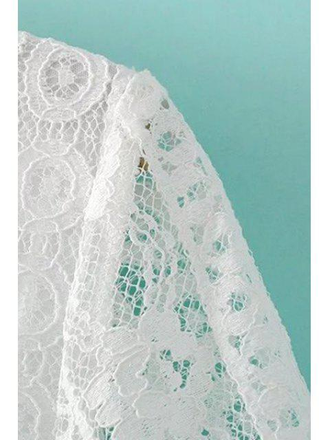 outfits Deep V Neck White Lace Dress - WHITE S Mobile