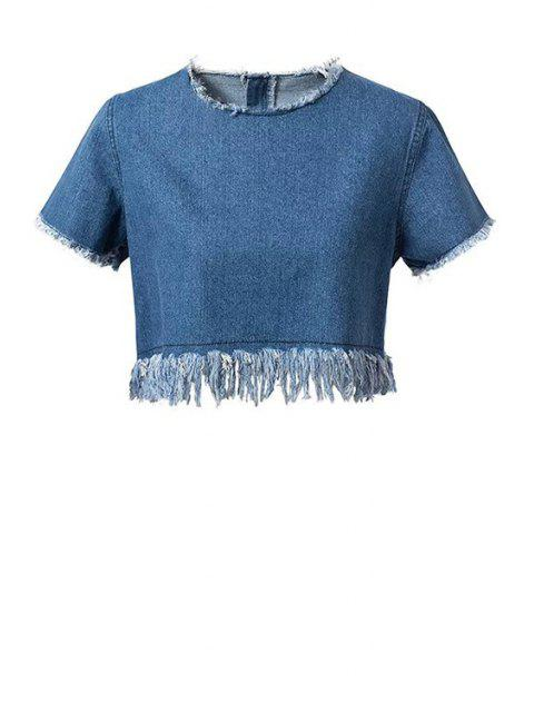 Frayed Denim Crop Top - Bleu M Mobile