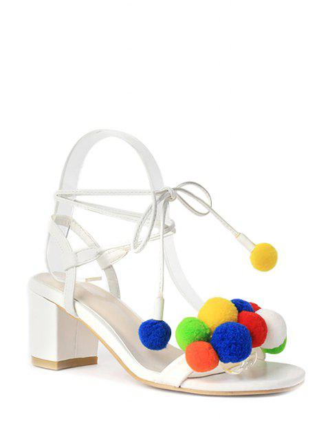 Bunte Pompon Lace-Up Chunky Heel Sandaletten - Weiß 36 Mobile
