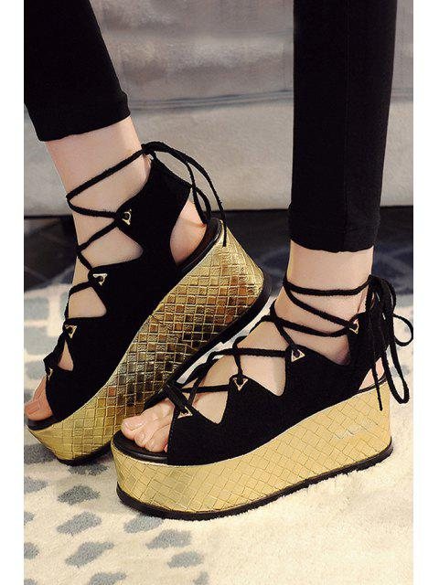 fancy Platform Lace-Up Black Sandals -   Mobile