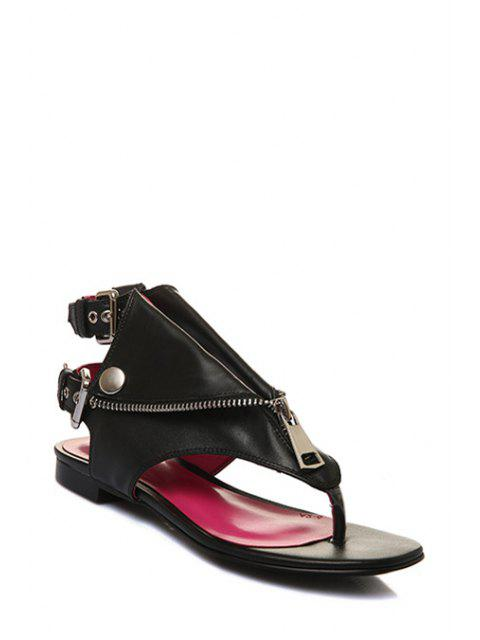 buy Zip Buckles Black Sandals - BLACK 37 Mobile