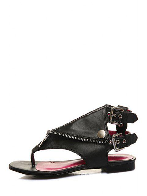 affordable Zip Buckles Black Sandals -   Mobile