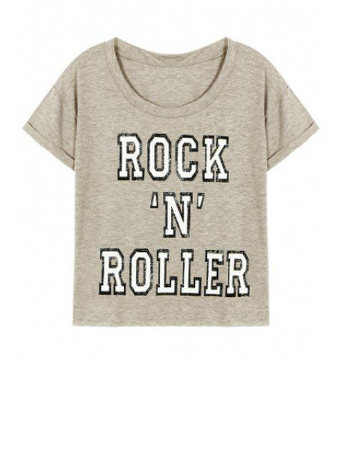 buy Letter Pattern Short Sleeve Round Neck T-Shirt - GRAY L Mobile