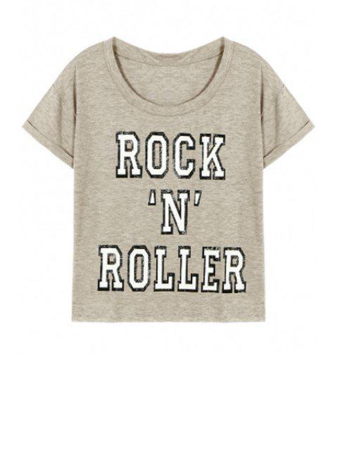 buy Letter Pattern Short Sleeve Round Neck T-Shirt - GRAY L Mobile