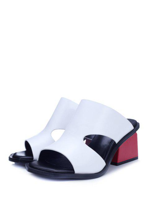 women's Chunky Heel Hollow Out White Slippers -   Mobile