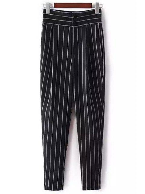 unique Striped High-Waisted Chino Pants - BLACK S Mobile