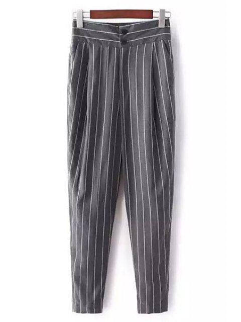 Pantalon à taille haute et à rayues - Gris S Mobile